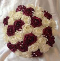 ARTIFICIAL FLOWERS IVORY/WINE RED FOAM ROSE BRIDE CRYSTAL WEDDING BOUQUET POSIE